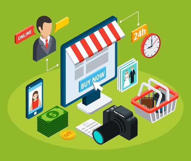 La composizione isometrica nel video della foto con le immagini concettuali del negozio elettronico online con gli oggetti e gli elementi del pittogramma vector l'illustrazione