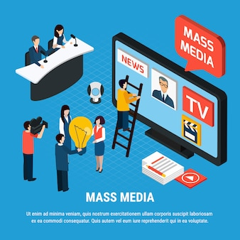 Photo video isometric composition with mass media news reporters and journalist characters with editable text