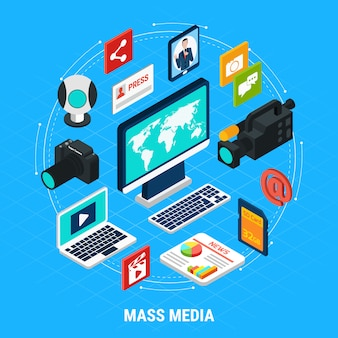 Photo video isometric round composition of elements of computers shooting equipment and infographic pictograms with text
