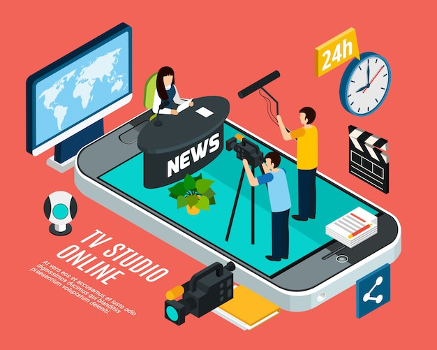 人と要素のベクトル図とスマートフォンの画面上の概念的なオンラインテレビスタジオと等尺性写真ビデオ