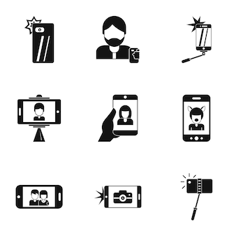 Photo yourself icons set, simple style