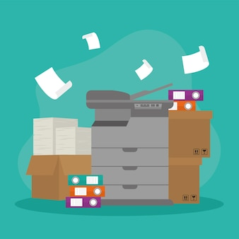 Копировальный аппарат и значки документов коробки
