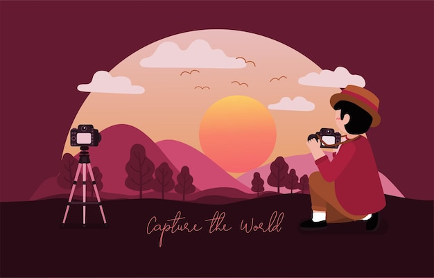 Photoghaper man wearing hat uses camera to taking photo of landscape