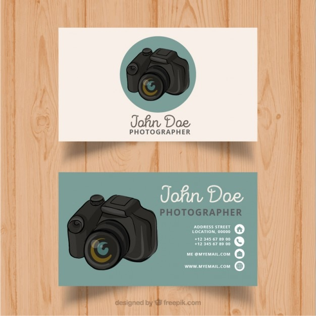 Photographer card with a reflex
