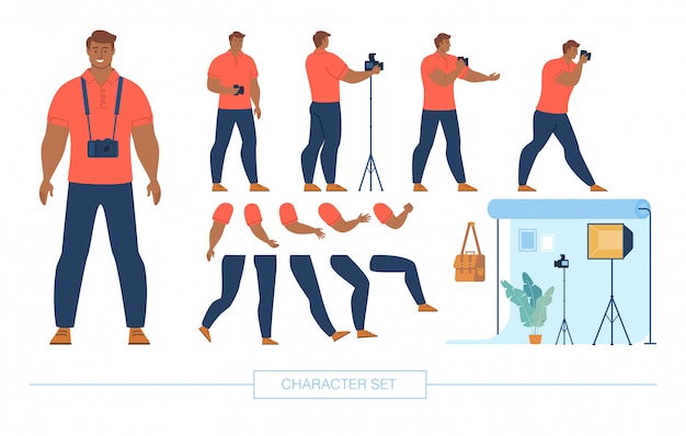 Photographer character constructor flat set