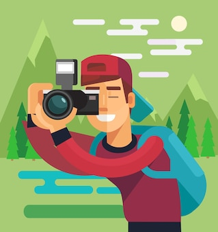 Photographer character take photo of nature.