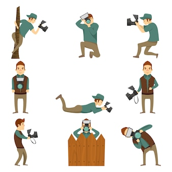Photographer characters isolated icon set