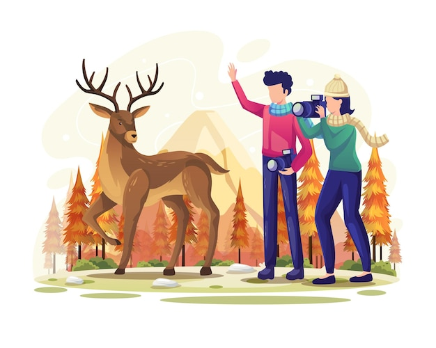 Photographer couple taking photos and greeting deer in autumn forest vector illustration