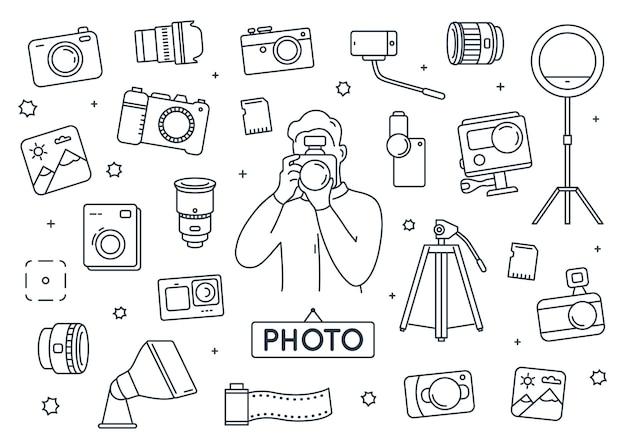Фотограф элементы каракули набор