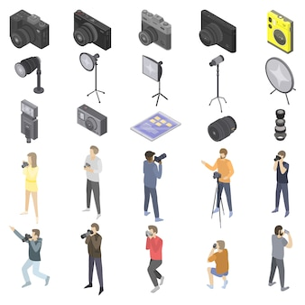 Photographer equipment icons set, isometric style