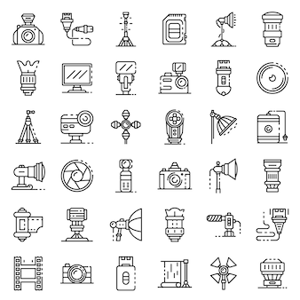 Photographer equipment icons set, outline style
