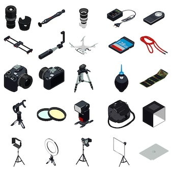 Photographer equipment icons set, simple style