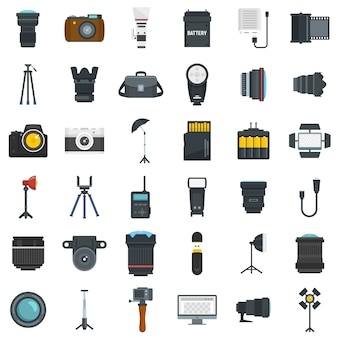 Photographer equipment icons set