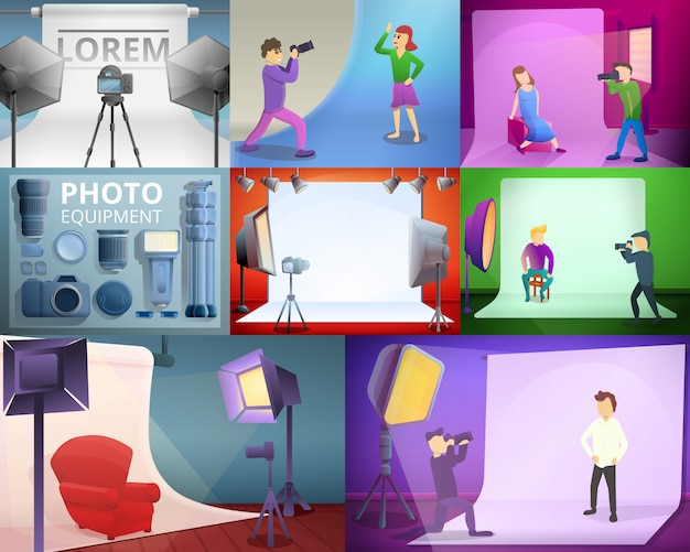 Photographer equipment illustration set on cartoon style