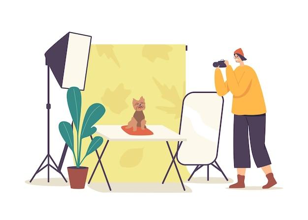 사진 작가 여성 캐릭터는 가벼운 장비를 갖춘 전문 스튜디오에서 순종 개의 사진을 만듭니다. 국내 동물 사진 세션, 카메라로 애완 동물 사진 촬영. 만화 벡터 일러스트 레이 션