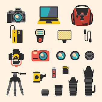 Photographer kit with camera elements. photography and digital equipment, lens and film. flat icons set