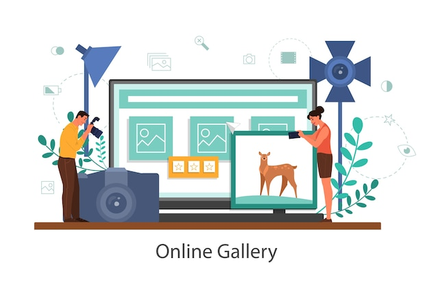 Photographer online gallery. professional photographer with camera taking pictures. artistic occupation and photography courses. isolated flat vector illustration