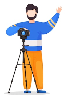 Photographer or paparazzi attract attention to take photo
