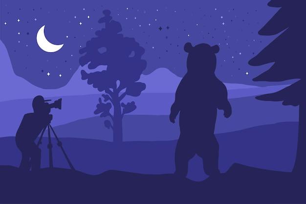 Photographer photographs bear in nature at noght inder moon. forest landscape. dark scene. vector