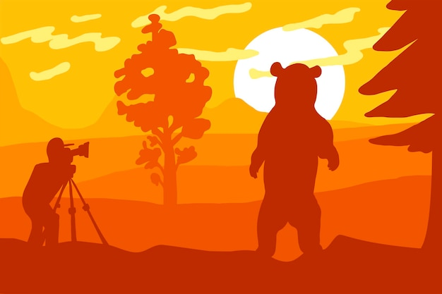 Photographer photographs bear in nature. tourist and wildlife panorama. forest landscape on morning. sunrise or sunset. vector