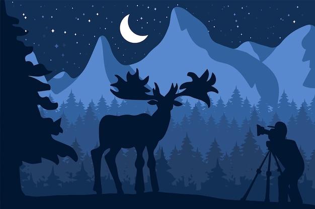 Фотограф фотографирует оленей на природе. панорама дикой природы леса и гор. естественная ночная сцена с луной. путешествующий видеооператор. вектор