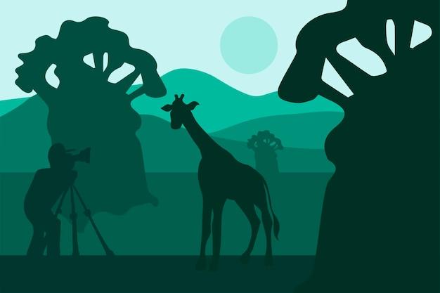 사진 작가는 아프리카 사파리에서 기린을 걷고 사진을 찍습니다. 녹색 자연 장면입니다. 관광 파노라마입니다. 벡터