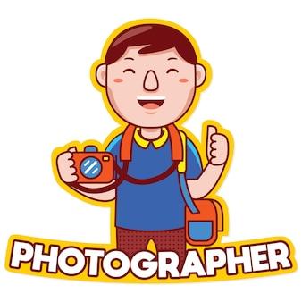 漫画のスタイルで写真家の職業マスコットロゴベクトル