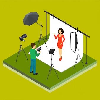 スタジオでのカメラマン撮影モデル
