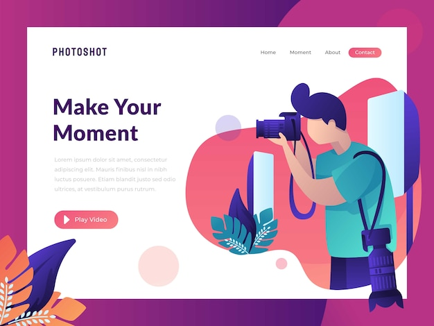 Photographer take a photo landing page