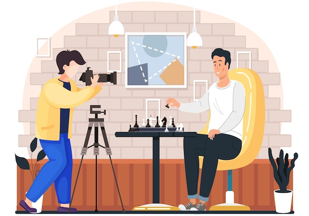 Photographer takes photos of a man playing chess in cozy living room atmosphere in the evening. male character holds a pawn in hand and makes a move, hobby, competition, logic game on the weekend