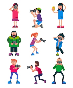 Photographer vector character with professional camera shooting photography or digital photo illustration set of person