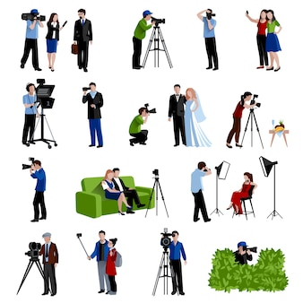 Photographer and videographer icons set