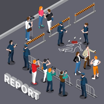 Photographer videographer isometric composition with roped-off area policemen and people near the scene of crime