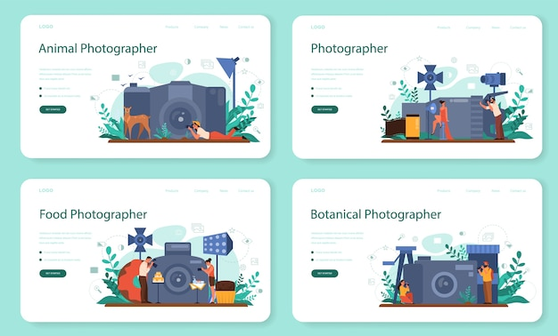 Photographer web banner or landing page set. professional photographer with camera taking pictures of person, animal, food. artistic occupation and photography courses.