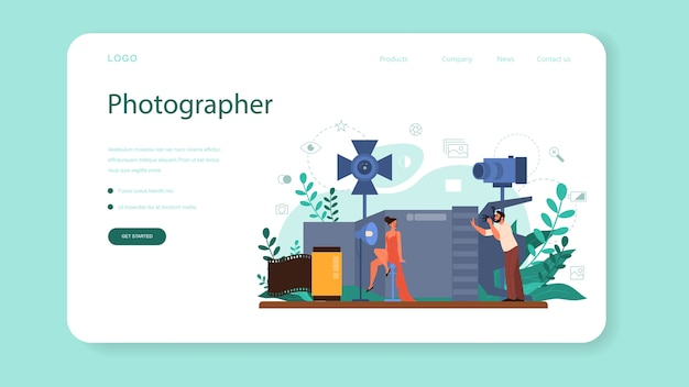 Photographer web banner or landing page