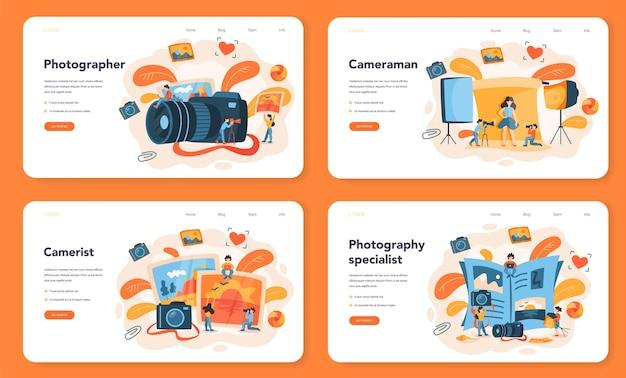 写真家のウェブバナーまたはランディングページセット