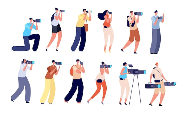 Фотографы и оператор. создатель цифрового видео, профессиональный художник с фотоаппаратом. персонажи съемочной группы, работа оператора векторные иллюстрации. фотограф и оператор видео, запись контента