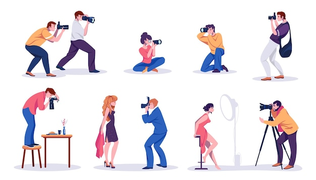 Photographers and models. paparazzi, bloggers, journalists and professional photographers shooting photos and posing at camera. vector illustration professionals content making concept