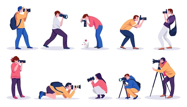Photographers. professional cartoon people with cameras shooting photos with tripods and from hands