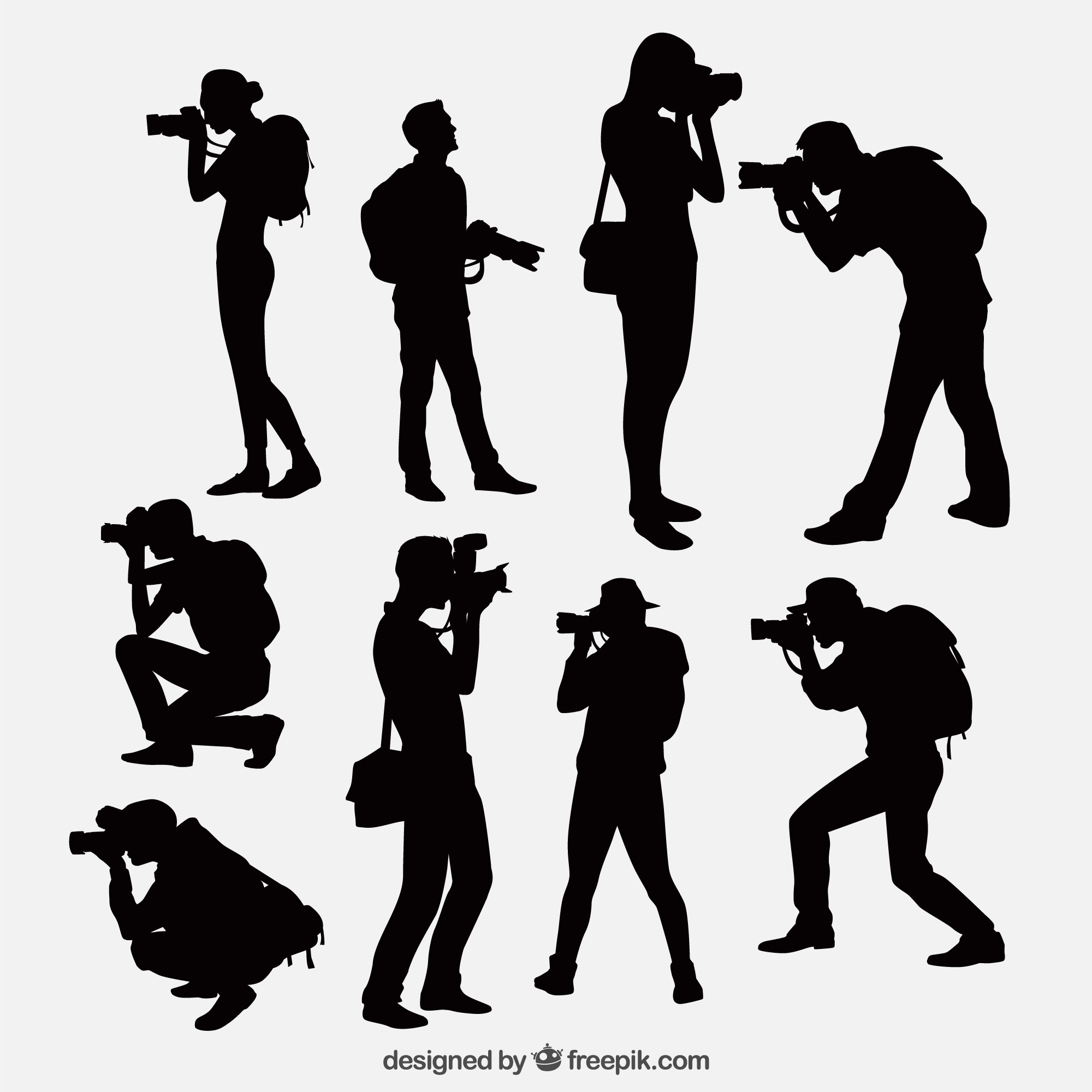 Photographers with camera silhouettes