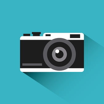 Photographic camera icon over blue background.