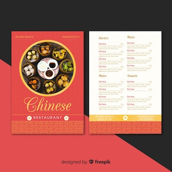 Photographic chinese restaurant flyer