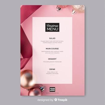 Photographic christmas menu template
