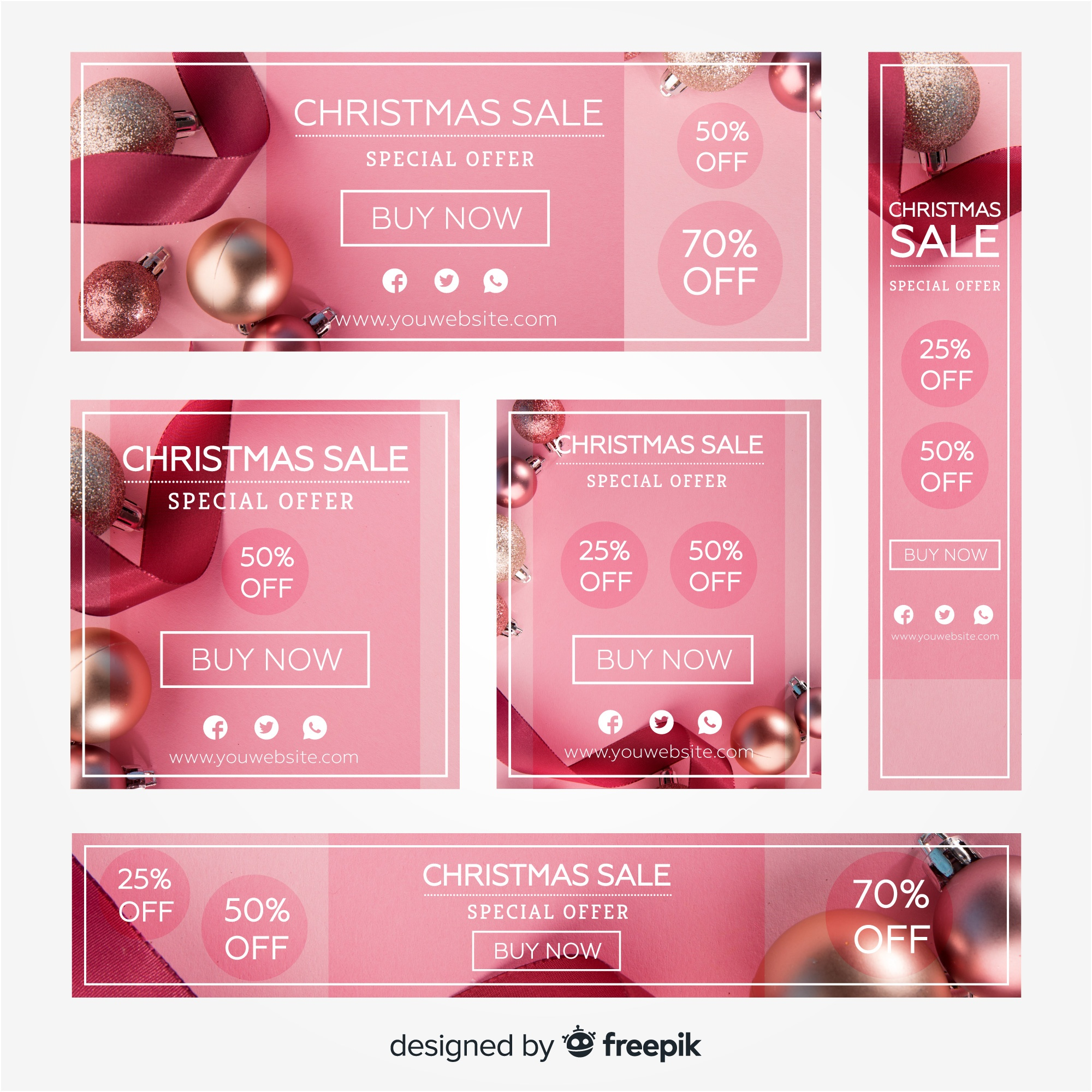 Photographic christmas sale banner collection