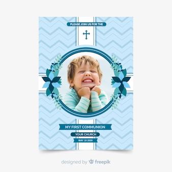 Photographic first communion invitation template