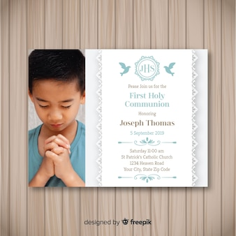 Photographic first communion invitation
