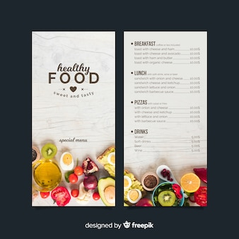 Photographic healthy menu template