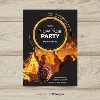 Photographic new year party poster