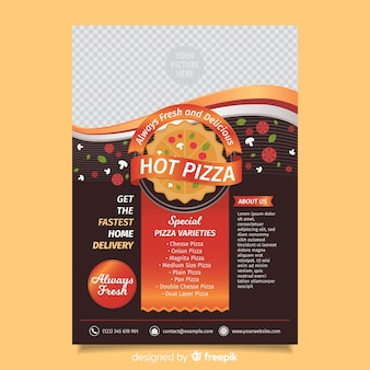Photographic pizza flyer template