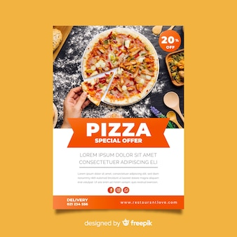 Photographic pizza poster template